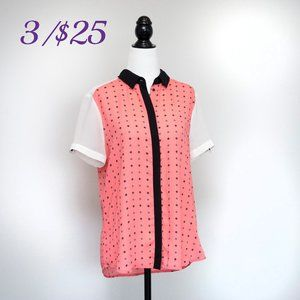 RW&Co. Short-sleeve blouse in Pink, White, Black